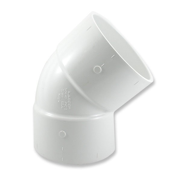 "6"" Schedule 40 PVC 45 Degree Elbow - Slip x Slip 417-060"