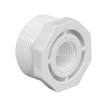 1-1/2 inch x 3/4 inch Sch 40 PVC Reducer Bushing - Flush - MPT x FPT 439-210