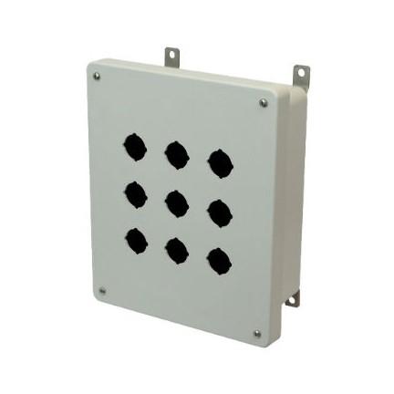 10x8x4 NEMA 4X Fiberglass Enclosure Lift-Off Screw Cover 9 PB Cutouts 30.5MM