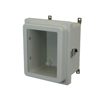 10x8x4 NEMA 4X Fiberglass Enclosure Raised Quick-Release Latch Hinged Cover Window