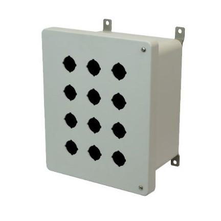 10x8x6 NEMA 4X Fiberglass Enclosure Hinged Screw Cover 12 PB Cutouts 30.5MM