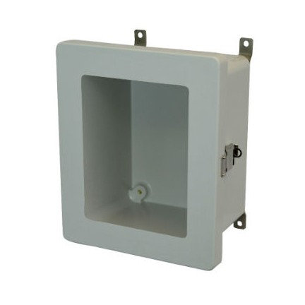 10x8x6 NEMA 4X Fiberglass Enclosure Quick-Release Latch Hinged Cover Window