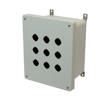 10x8x6 NEMA 4X Fiberglass Enclosure Lift-Off Screw Cover 9 PB Cutouts 30.5MM
