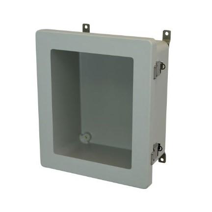 12x10x6 NEMA 4X Fiberglass Enclosure Quick-Release Latch Hinged Cover Window