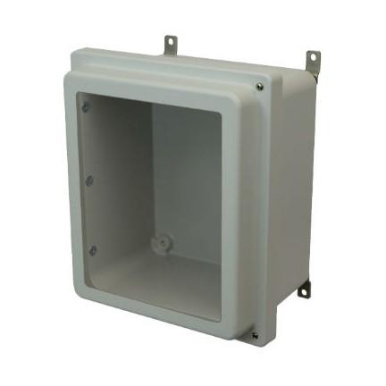 14x12x6 NEMA 4X Fiberglass Enclosure Raised Hinged Screw Cover Window