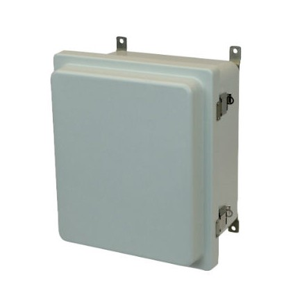 14x12x6 NEMA 4X Fiberglass Enclosure Raised Quick-Release Latch Hinged Cover