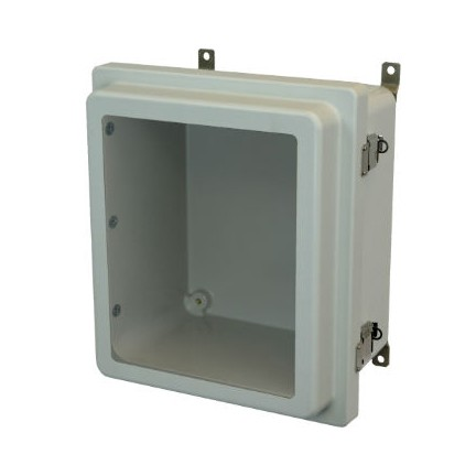 14x12x6 NEMA 4X Fiberglass Enclosure Raised Quick-Release Latch Hinged Cover Window