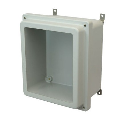14x12x6 NEMA 4X Fiberglass Enclosure Raised Lift-Off Screw Cover Window