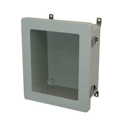 16x14x8 NEMA 4X Fiberglass Enclosure Quick-Release Latch Hinged Cover Window