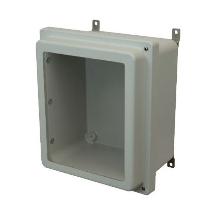 16x14x8 NEMA 4X Fiberglass Enclosure Raised Hinged Screw Cover Window