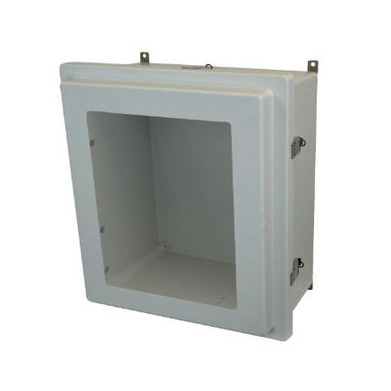 18x16x8 NEMA 4X Fiberglass Enclosure Raised Quick-Release Latch Hinged Cover Window