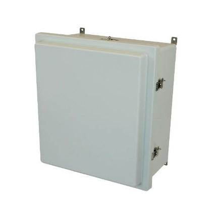 18x16x8 NEMA 4X Fiberglass Enclosure Raised Twist Latch Hinged Cover