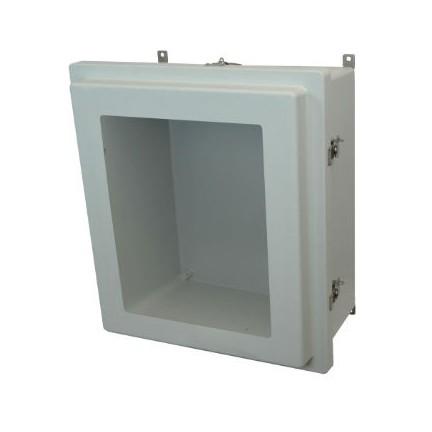 18x16x8 NEMA 4X Fiberglass Enclosure Raised Twist Latch Hinged Cover Window
