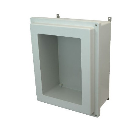 20x16x8 NEMA 4X Fiberglass Enclosure Raised Hinged Screw Cover Window