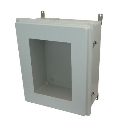 24x20x10 NEMA 4X Fiberglass Enclosure Raised Quick-Release Latch Hinged Cover Window
