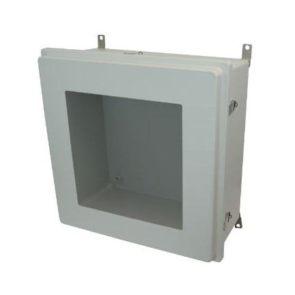 24x24x10 NEMA 4X Fiberglass Enclosure Raised Quick-Release Latch Hinged Cover Window