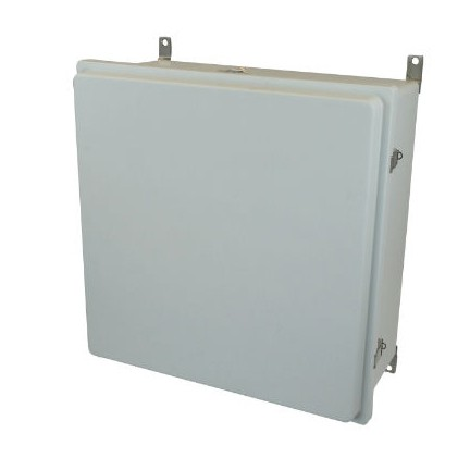 24x24x8 NEMA 4X Fiberglass Enclosure Raised Quick-Release Latch Hinged Cover