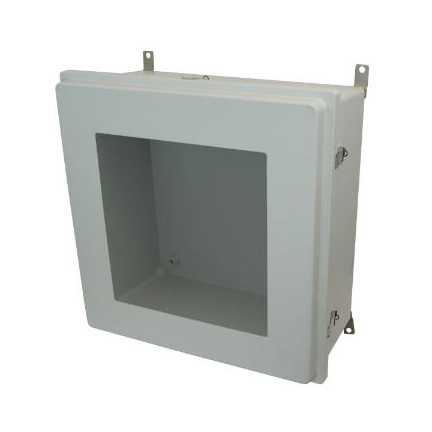 24x24x8 NEMA 4X Fiberglass Enclosure Raised Quick-Release Latch Hinged Cover Window