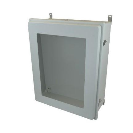 30x24x10 NEMA 4X Fiberglass Enclosure Raised Quick-Release Latch Hinged Cover Window