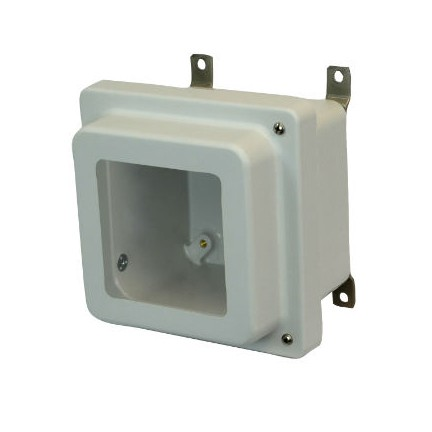 6x6x4 NEMA 4X Fiberglass Enclosure Raised Hinged Screw Cover Window