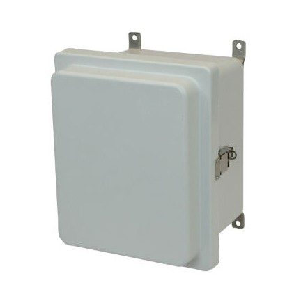 8x6x4 NEMA 4X Fiberglass Enclosure Raised Quick-Release Latch Hinged Cover