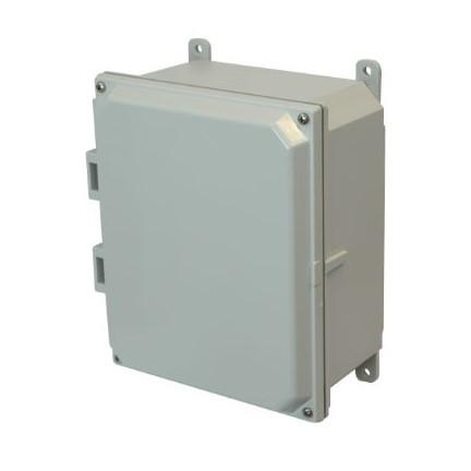 10x8x4 NEMA 4X Polycarbonate Encl Lift-Off Screw Cover Foot Mount