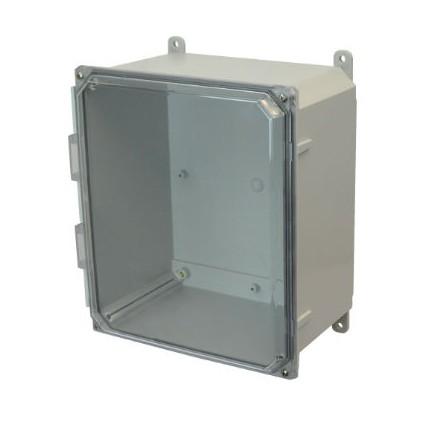 14x12x6 NEMA 4X Polycarbonate Encl Clear Lift-Off Screw Cover Foot Mount