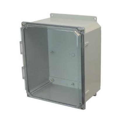 14x12x6 NEMA 4X Polycarbonate Encl Clear Lift-Off Screw Cover Flange Mount