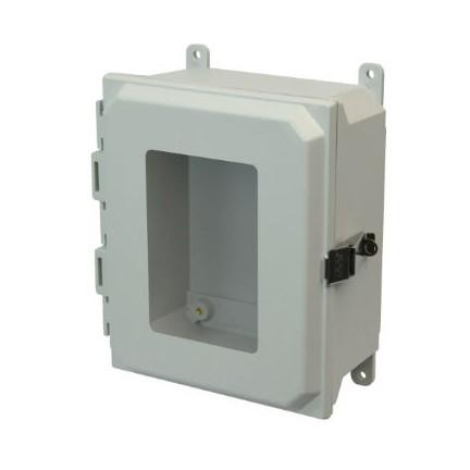 10x8x4 NEMA 4X Fiberglass Enclosure Quick-Release Latch Hinged Cover Window Foot Mount