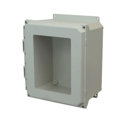 12x10x6 NEMA 4X Fiberglass Enclosure Lift-Off Screw Cover Window Flange Mount