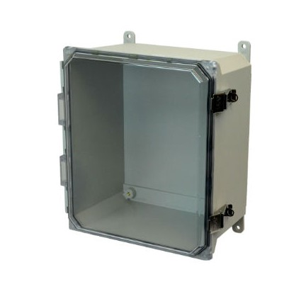 14x12x6 NEMA 4X Fiberglass Enclosure Quick-Release Latch Clear Hinged Cover Foot Mount