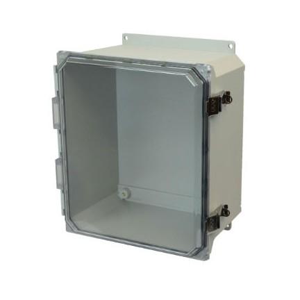 14x12x6 NEMA 4X Fiberglass Enclosure Quick-Release Latch Clear Hinged Cover Flange Mount