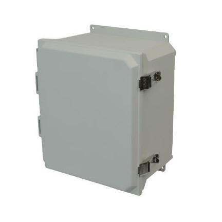 14x12x6 NEMA 4X Fiberglass Enclosure Quick-Release Latch Hinged Cover Flange Mount