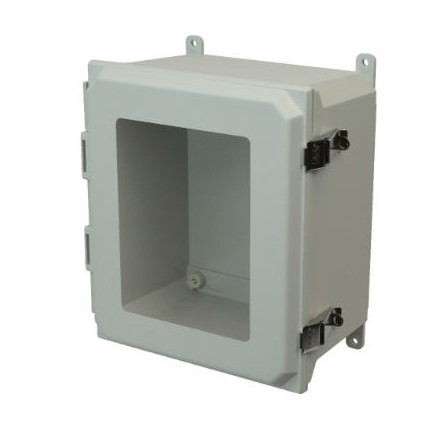 18x16x10 NEMA 4X Fiberglass Enclosure Quick-Release Latch Hinged Cover Window Foot Mount