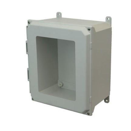 16x14x8 NEMA 4X Fiberglass Enclosure Lift-Off Screw Cover Window Foot Mount