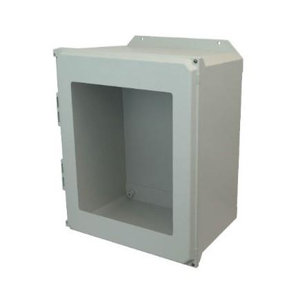 20x16x10 NEMA 4X Fiberglass Enclosure Hinged Screw Cover Window Flange Mount