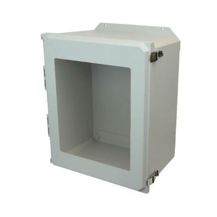 20x16x10 NEMA 4X Fiberglass Enclosure Quick-Release Latch Hinged Cover Window Flange Mount