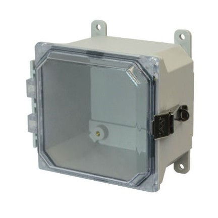 6x6x4 NEMA 4X Fiberglass Enclosure Quick-Release Latch Clear Hinged Cover Foot Mount