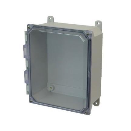 8x6x4 NEMA 4X Fiberglass Enclosure Clear Lift-Off Screw Cover Foot Mount
