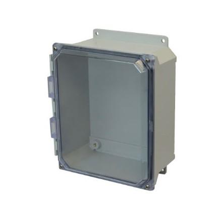 8x6x4 NEMA 4X Fiberglass Enclosure Clear Lift-Off Screw Cover Flange Mount