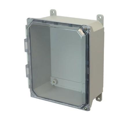 8x6x4 NEMA 4X Fiberglass Enclosure Clear Hinged Screw Cover Foot Mount