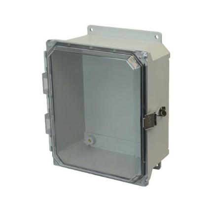 8x6x4 NEMA 4X Fiberglass Enclosure Quick-Release Latch Clear Hinged Cover Flange Mount
