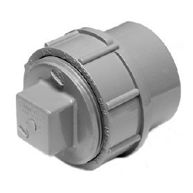 "1-1/2"" ChemDrain CPVC AW FTG CO Adapter W/CO Plug 10456"