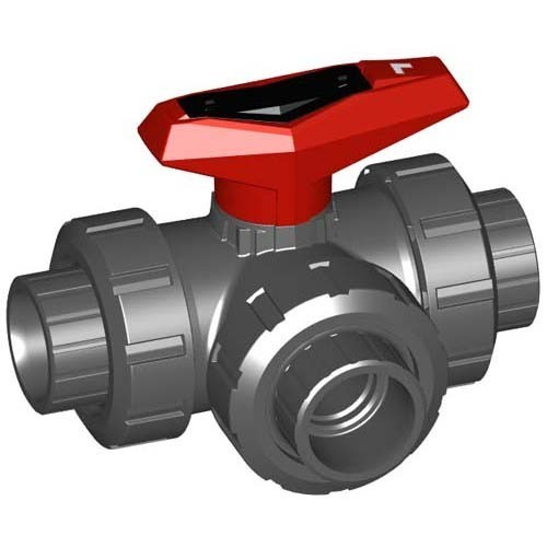"1/2"" GF 543 3-Way Ball Valve L-Port Viton 161543092"