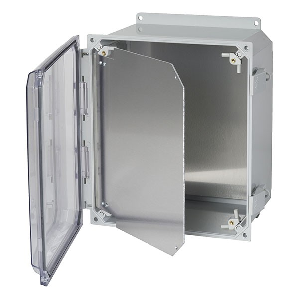 "Aluminum Hinged Front Panel for 8"" x 6"" x 4"" Enclosures"