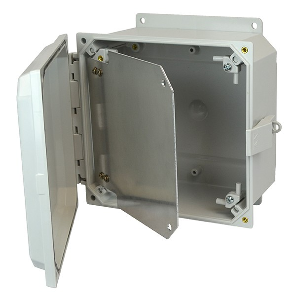 "Aluminum Hinged Front Panel for 8"" x 8"" x 4"" Enclosures"