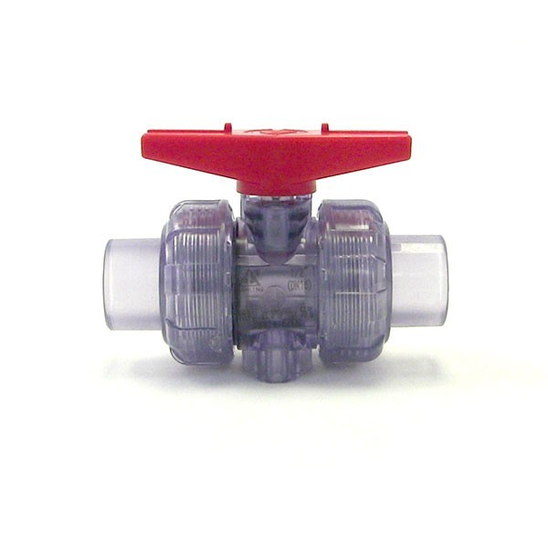 "1-1/4"" Clear PVC True Union Ball Valve (S x S)"