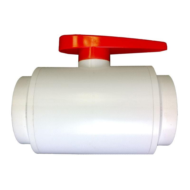 "3"" DELUXE PVC Ball Valve - White (S x S)"