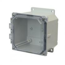 6x6x4 NEMA 4X Polycarbonate Encl Clear Lift-Off Screw Cover Flange Mount