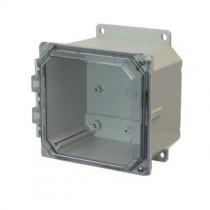 6x6x4 NEMA 4X Polycarbonate Encl Clear Hinged Screw Cover Flange Mount